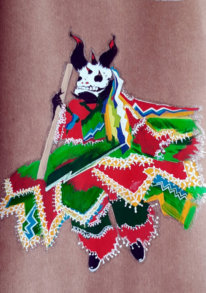 Painting of a Bate-Bola dressed in a coloraful costume